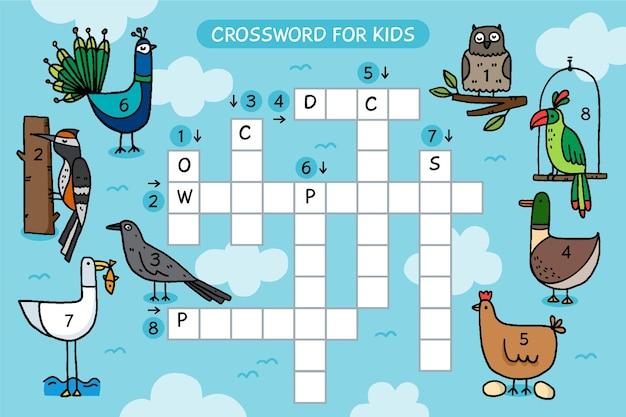 Creatief kruiswoordraadsel in engels werkblad met dieren
