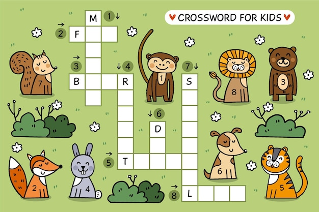 Creatief kruiswoordraadsel in engels werkblad met geïllustreerde dieren