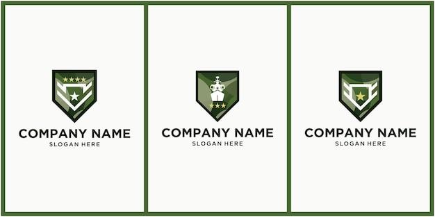 Creatief leger en militair logo-ontwerp instellen