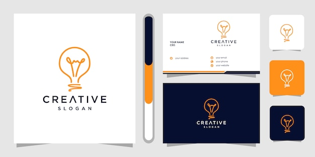 Creatief logo ontwerp en visitekaartje met gloeilamp