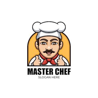 Creatief logo-ontwerp voor chef-kok cartoon