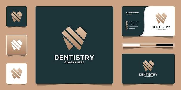 Creatief logo-ontwerp voor tandheelkundekliniek en sjabloon voor visitekaartjes