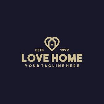 Creatief love home premium logo-ontwerp