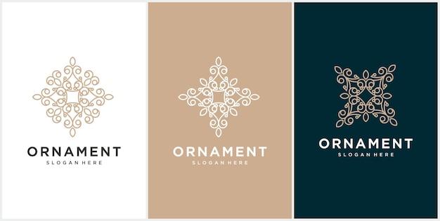 Creatief luxe ornament logo-ontwerp instellen.