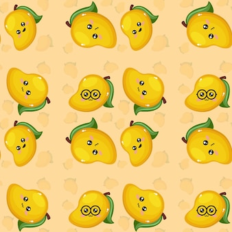 Creatief mango emoticon patroon achtergrondbehang