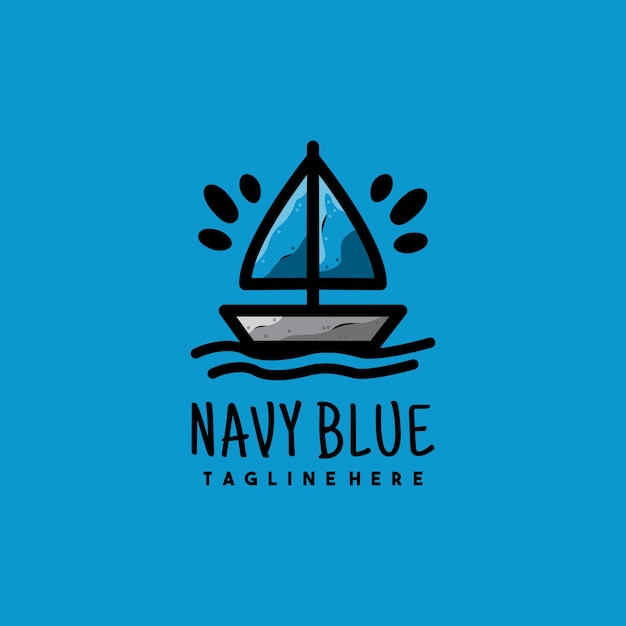 Creatief marineblauw boot illustratie logo ontwerp
