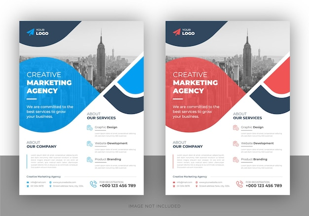 Creatief marketing promotionele flyer ontwerp en voorbladsjabloon
