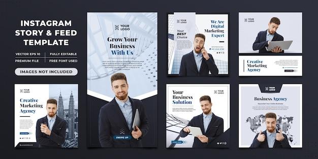 Creatief marketingbureau instagram-verhaal en feedsjabloon