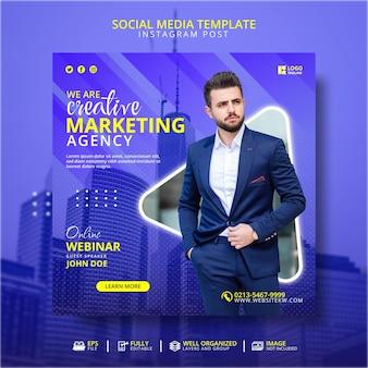 Creatief marketingbureau online webinar social media post-sjabloon