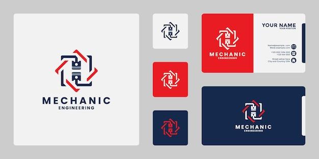 Creatief mechanisch logo-ontwerp voor werkplaats, engineering, mechanisch
