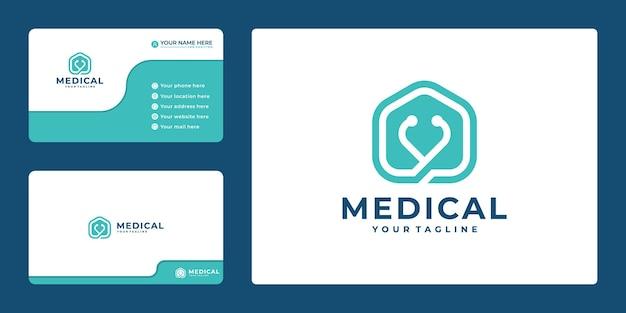 Creatief medisch logo en visitekaartje met pictogramstethoscoop en huis,