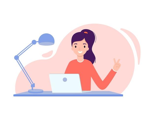 Creatief meisje dat aan laptop werkt. illustratie in platte ontwerpstijl.