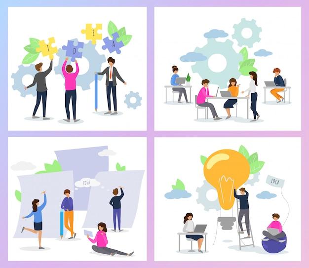 Creatief mensenman vrouwenkarakter die bij de illustratiereeks samenwerken van teamwerkideeën brainstormteam die projectontwerp op vergadering creëren die op achtergrond wordt geïsoleerd