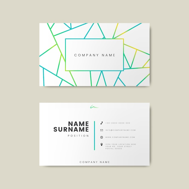 Creatief minimaal en modern visitekaartjeontwerp die geometrische vormen kenmerken