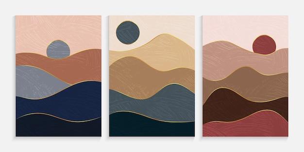 Creatief minimalistisch landschap met de hand geschilderd
