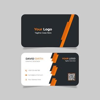Creatief modern visitekaartje oranje en zwart
