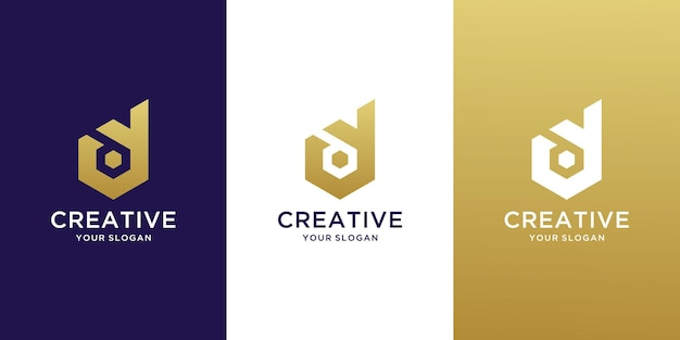 Creatief monogram beginletter yd-logo