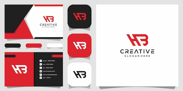 Creatief monogram, h gecombineerd met b-logo-ontwerpsjabloon