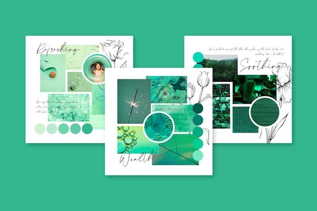 Creatief moodboard in groen