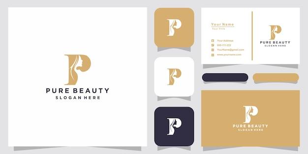 Creatief mooi vrouwengezicht met p-logo en visitekaartjeontwerp
