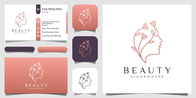 Creatief mooie vrouw gezicht bloem met lijn art stijl logo en visitekaartje ontwerp