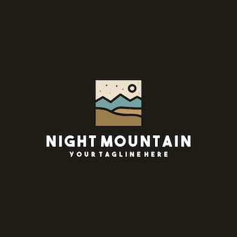 Creatief nacht berg logo-ontwerp