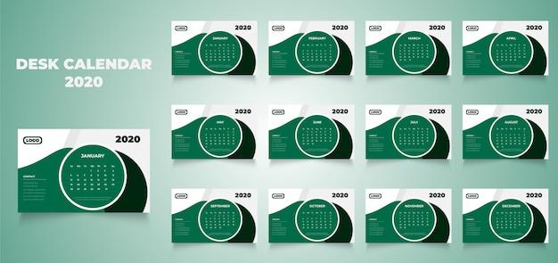 Creatief nieuw 2020 bureaukalenderontwerp