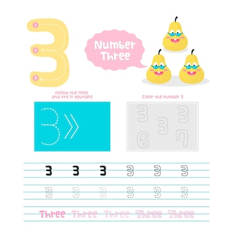 Creatief nummer drie werkblad met peren