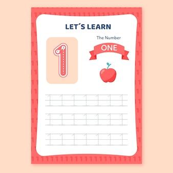 Creatief nummer één werkblad met appel