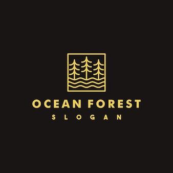 Creatief oceaan bos logo-ontwerp