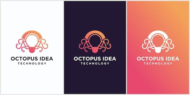 Creatief octopus idee logo ontwerpsjabloonelement