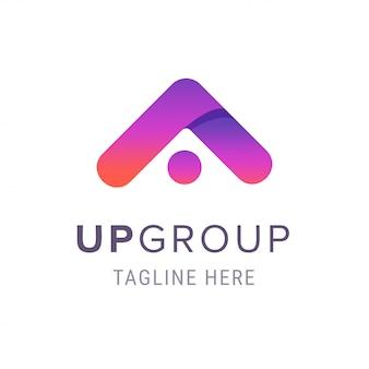 Creatief omhoog bedrijfslogo van de groep, bedrijfsbrandmerksymbool met sloganmalplaatje.