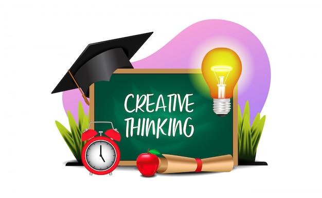 Creatief onderwijs dat met illustratie van bord, licht, graduatie capt denkt