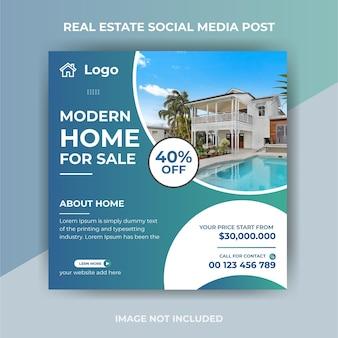 Creatief onroerend goed huis te koop instagram post of flyer vierkante sjabloon