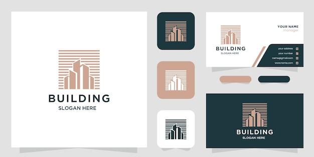 Creatief onroerend goed logo-ontwerp en visitekaartje