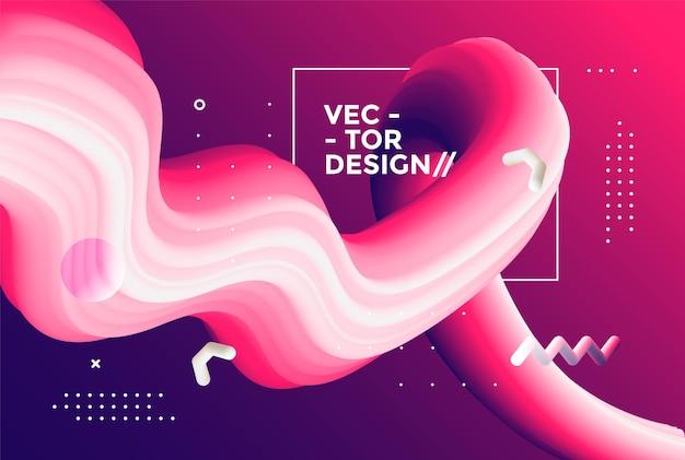 Creatief ontwerp 3d-stroomvorm. vloeibare golfachtergronden. illustratie