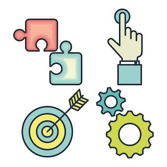 Creatief opstarten iconen vector illustratie ontwerp