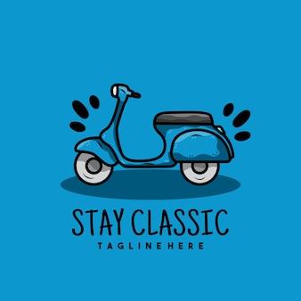 Creatief oud motorfiets scooter logo