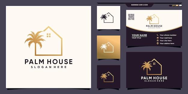 Creatief palm- en huislogo met lijnkunststijl en visitekaartjeontwerp premium vector
