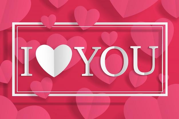 Creatief papier ambachtelijke hart en belettering ik hou van je binnen witte frame rode achtergrond.