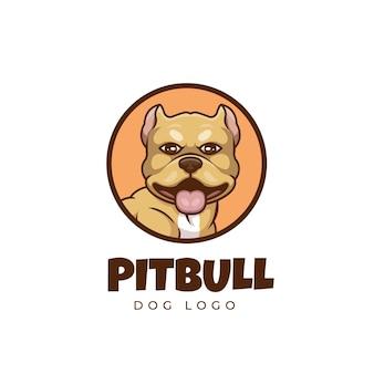 Creatief pit bull dog pet cartoon logo-ontwerp Premium Vector