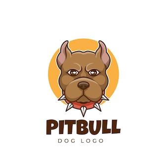 Creatief pit bull dog pet cartoon logo-ontwerp