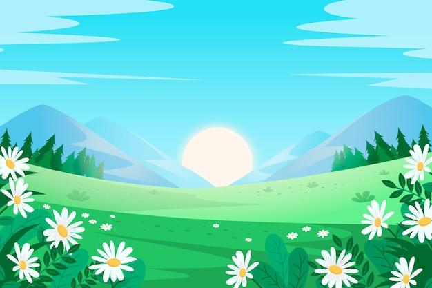 Creatief plat ontwerp lente landschap