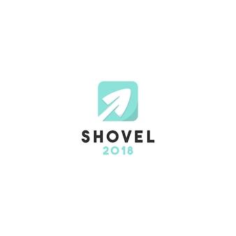 Creatief plat schop logo-ontwerp
