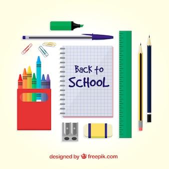 Creatief plat terug naar schoolontwerp