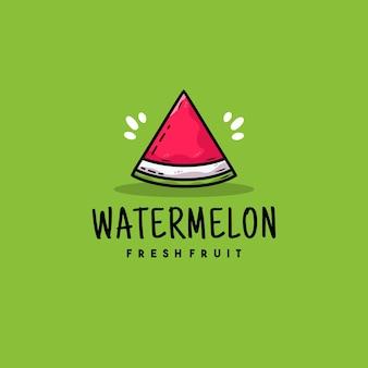 Creatief plat watermeloen illustratie logo ontwerp