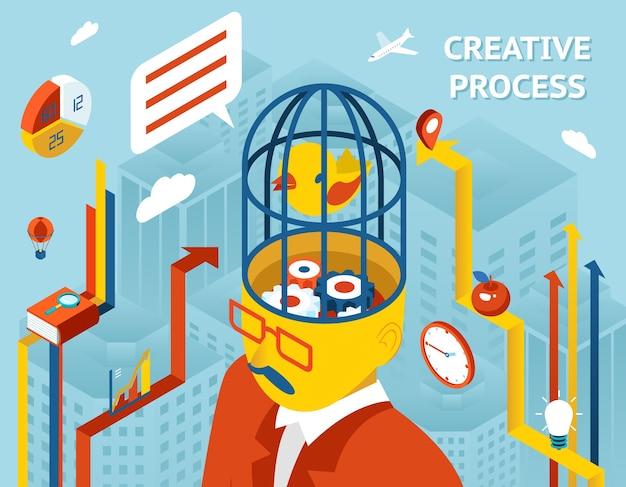 Creatief proces. gedachte en creatie, denken en uitvinding en oplossing versnellingen in menselijk hoofd.