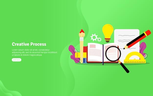 Creatief proces illustratie banner