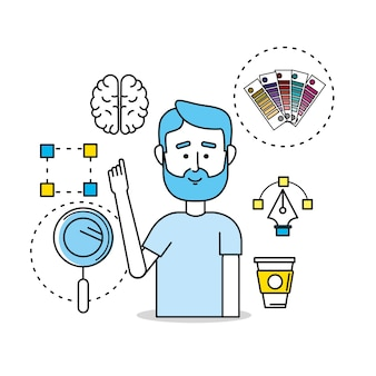 Creatief proces met ideeën iconen ontwerp