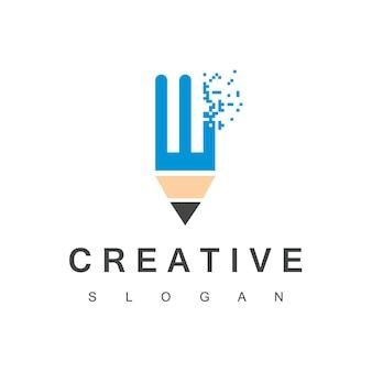 Creatief programmeur-logo met technologiesymbool